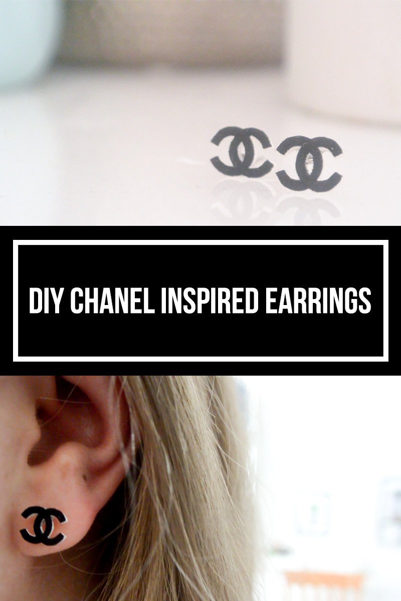 DIY chanel inspired earrings. How to make chanel inspired earrings with shrink plastic. The tiny honeycomb blog