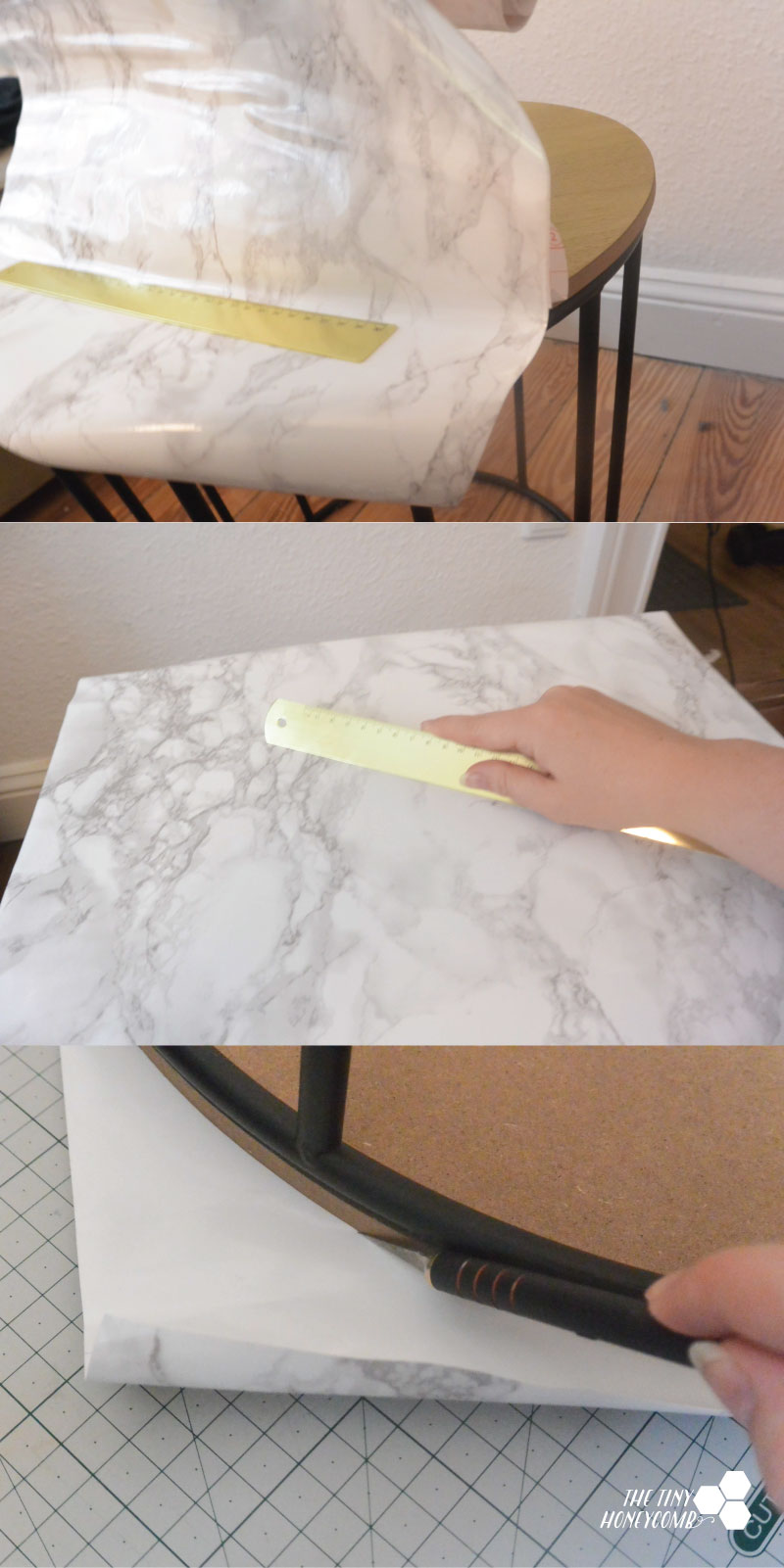 how to marble a table with contact paper