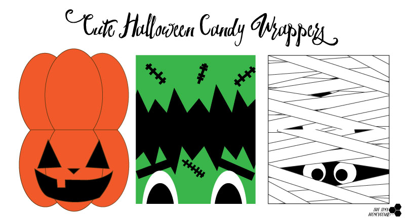 Cute Halloween candy wrappers. Free Printable. The tiny honeycomb blog