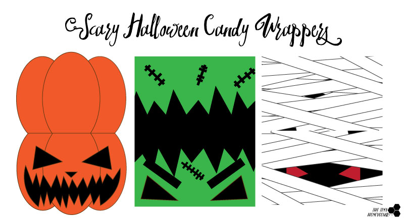 Scary halloween candy wrappers. Free Printables. The tiny honeycomb blog