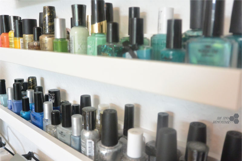 DIY Nail polish rack. Easy and simple with picture ledges from IKEA. The tiny honeycomb blog