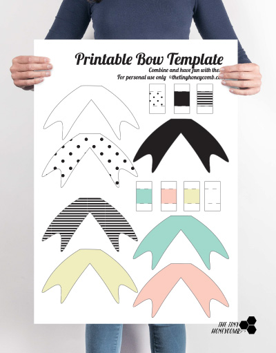 Diy printable paper bow with template the tiny honeycomb paper bow template maxwellsz