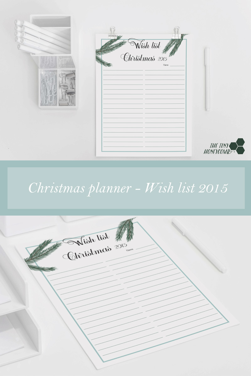 Christmas planner - Wish list 2015. Free printable planner.