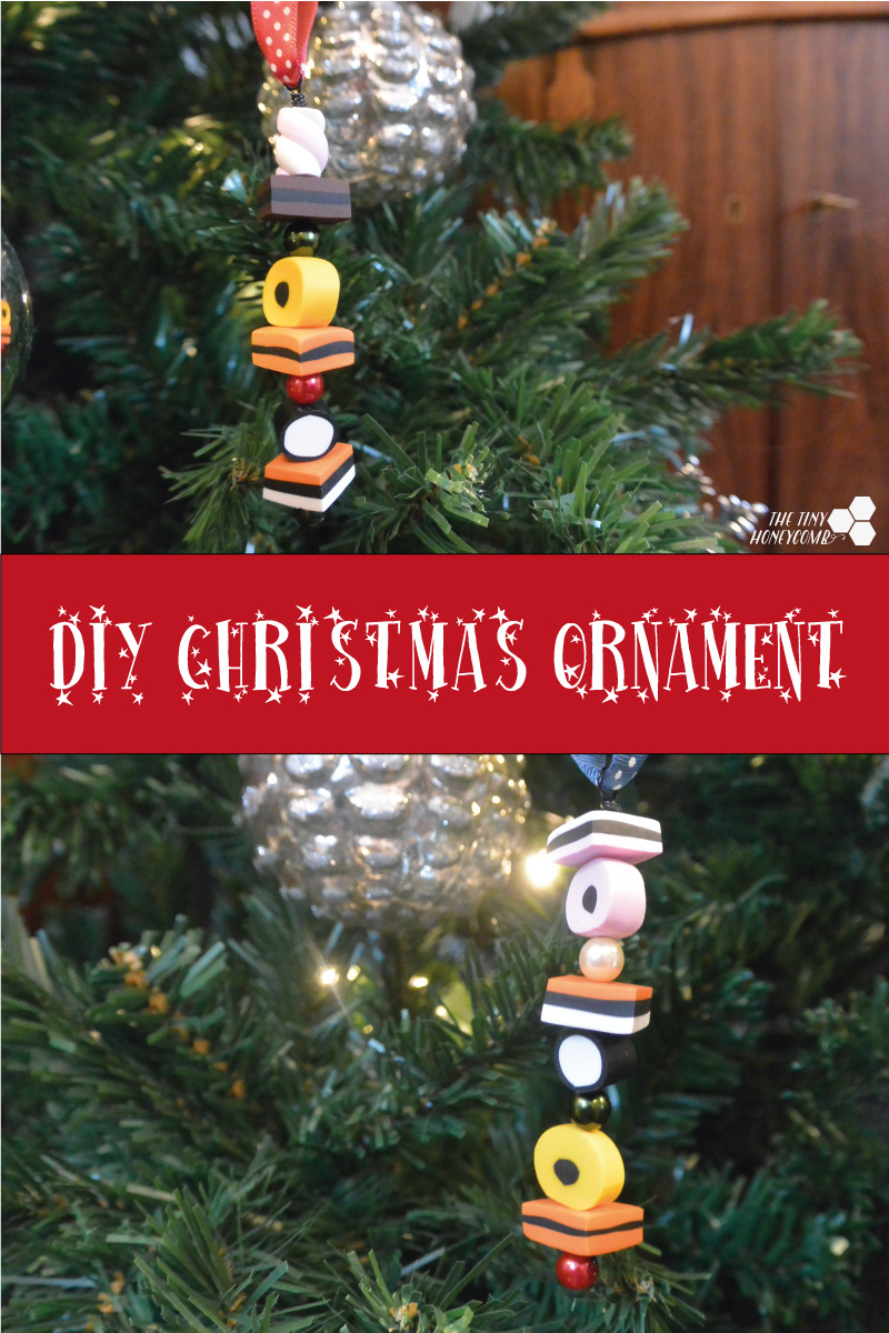 DIY Christmas ornament made from polymer clay. All sorts licorice inspired.