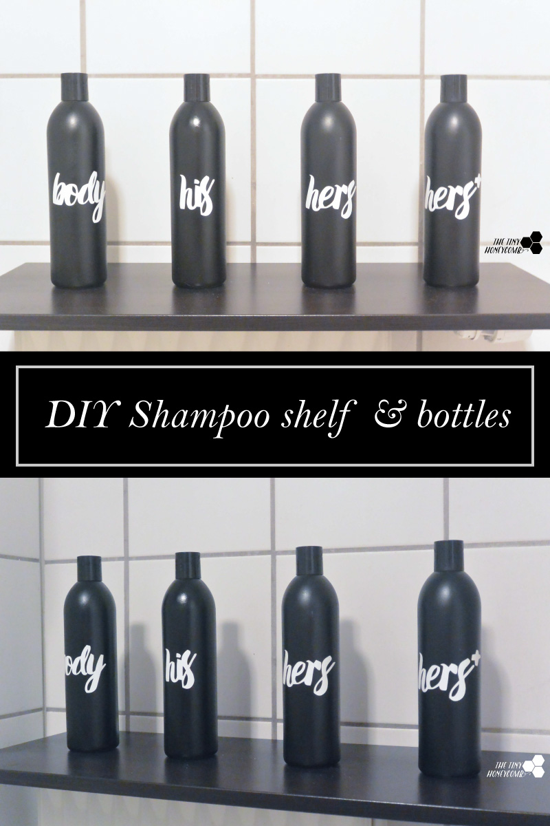 DIY personalized shampoo bottles. How to redecorate your bathroom for no money.
