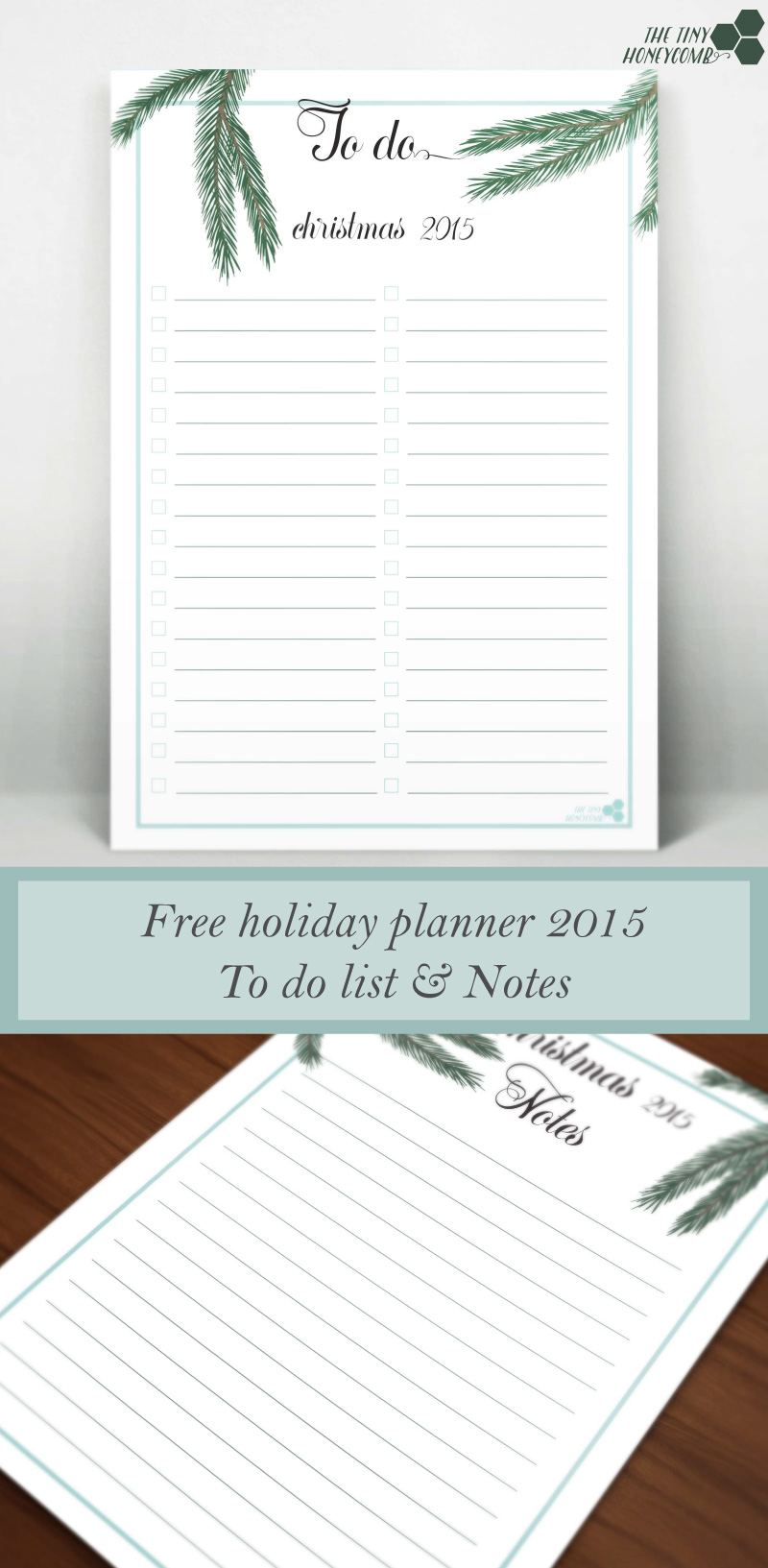 Notes and To do Printable lists for this christmas. Free Christmas planner 2015