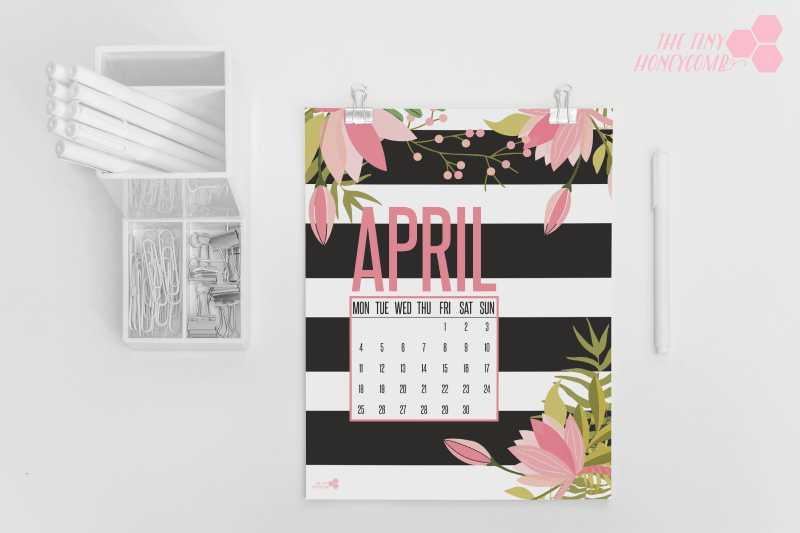 Free printable calendar for Apri