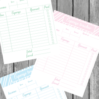 Printable expense tracker free in three different colors