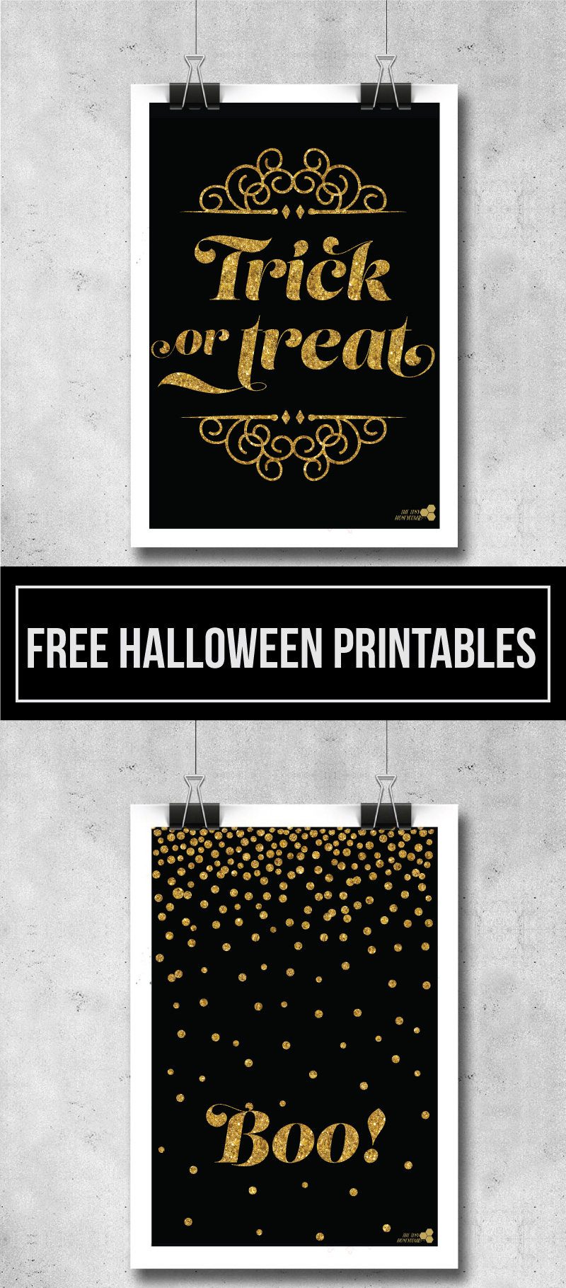 Free Printables for Halloween. Gold and black printables: Boo! and trick or treat. The tiny honeycomb blog
