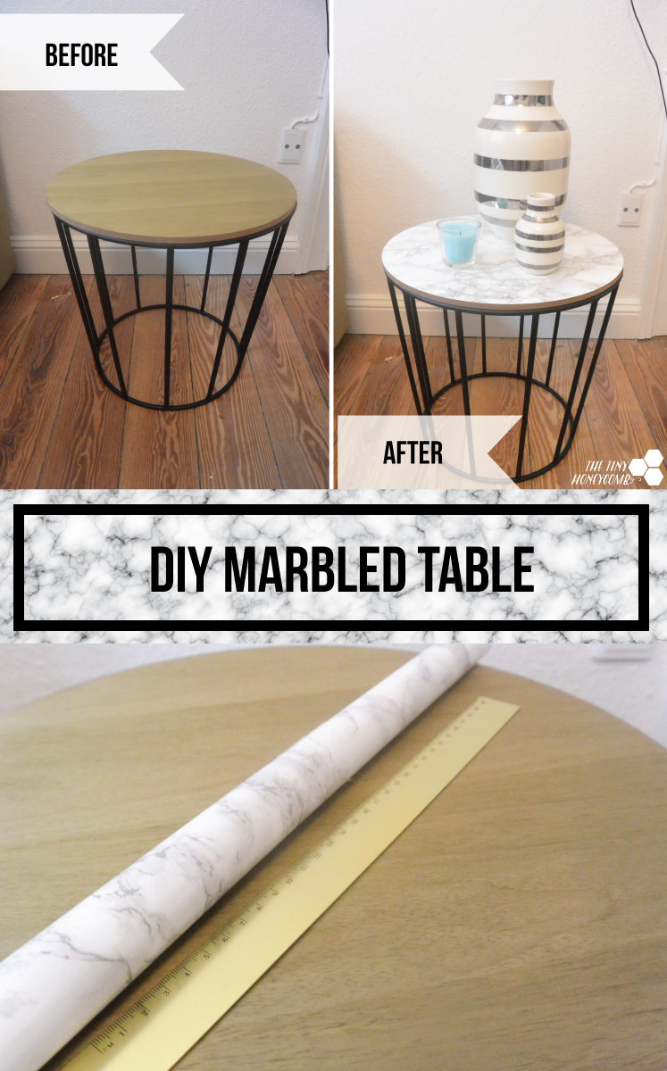 DIY marbled table - easy how to project. The tiny honeycomb blog