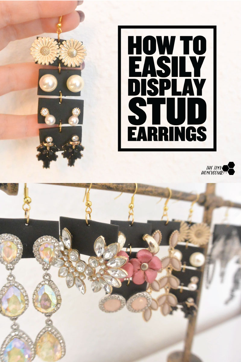 How to easily make a display for stud earrings using polymer clay. The tiny honeycomb blog