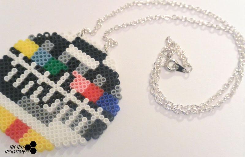 Old tv screen. Mini hama beads necklace. The tiny honeycomb blog