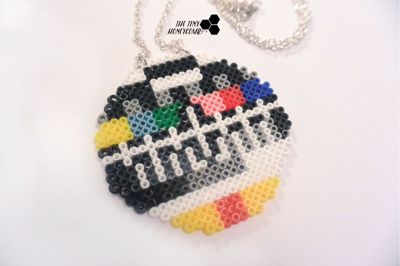 DIY Hama beads necklace. Showing the old tv screen. The tiny honeycomb blog