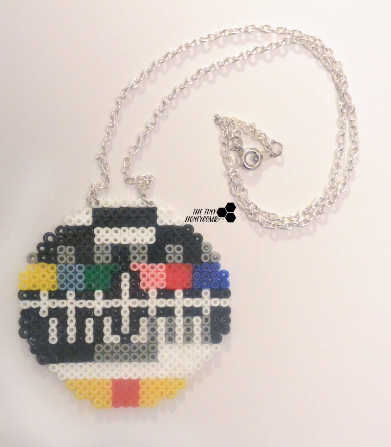 Mini hama beads. Old tv screen on silver necklace. The tiny honeycomb blog