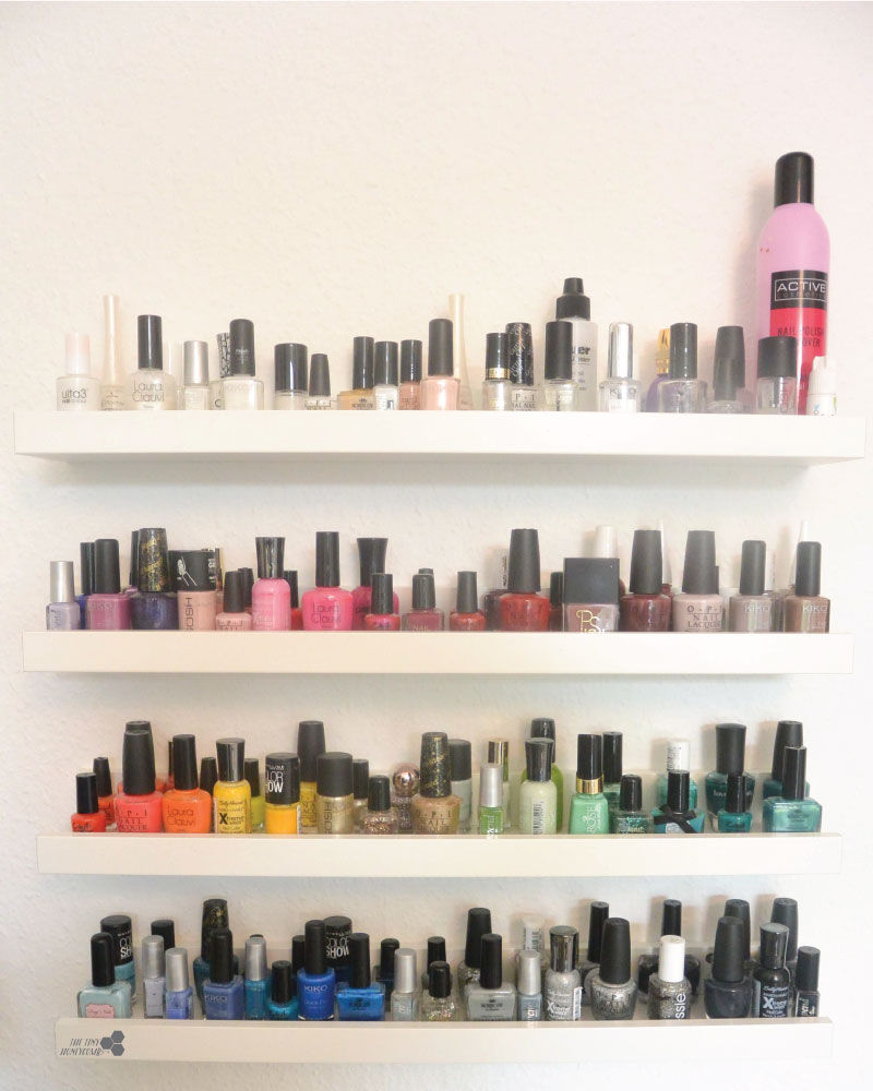 How to easily make a nail polish rack with picture ledges from IKEA. The tiny honeycomb blog