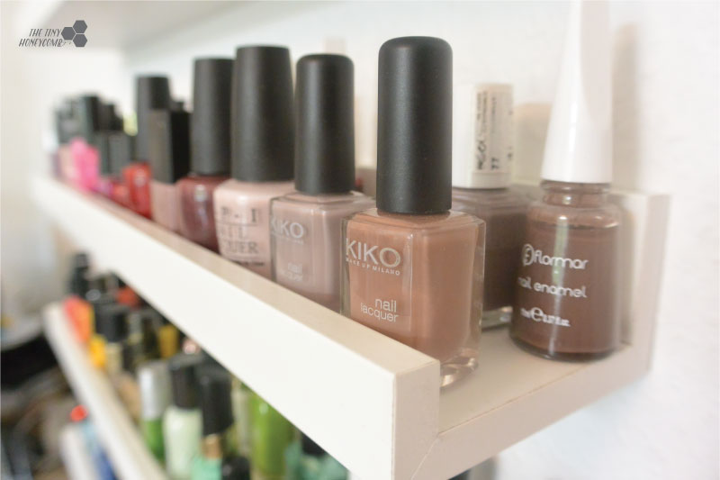 DIY Nail polish rack with picture ledges from IKEA