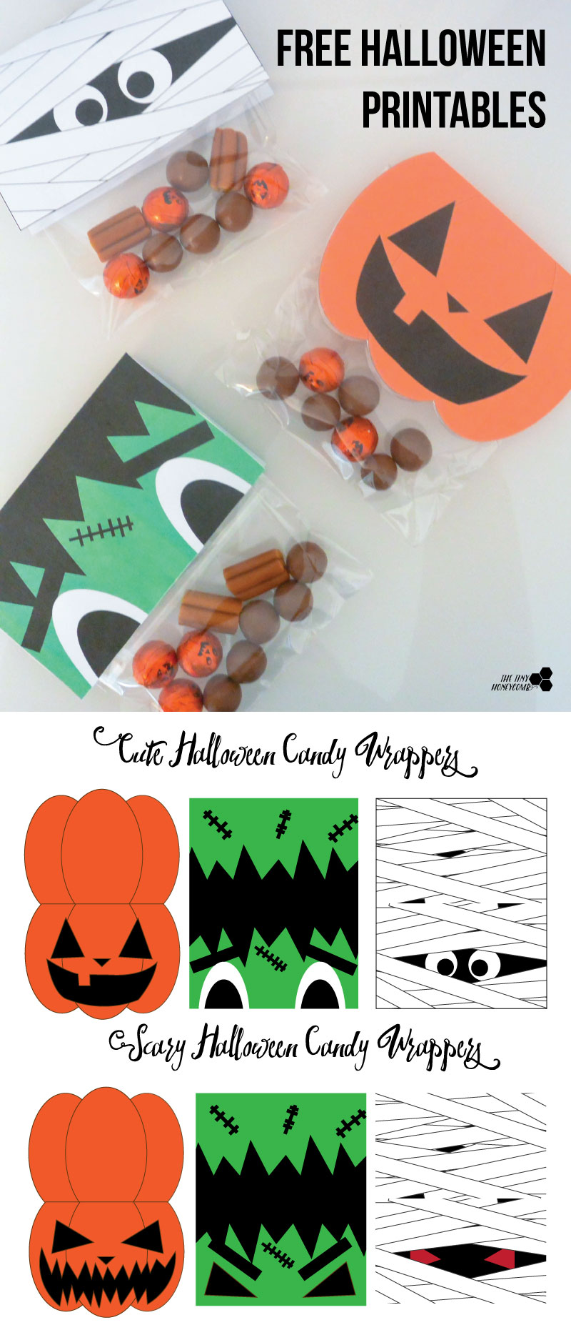 Free Halloween Candy Wrappers Printable. The Tiny Honeycomb blog