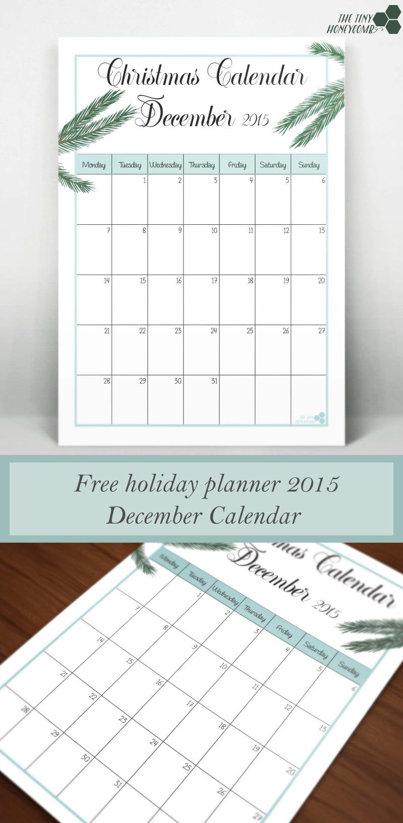 December Calendar. Free Christmas planner 2015