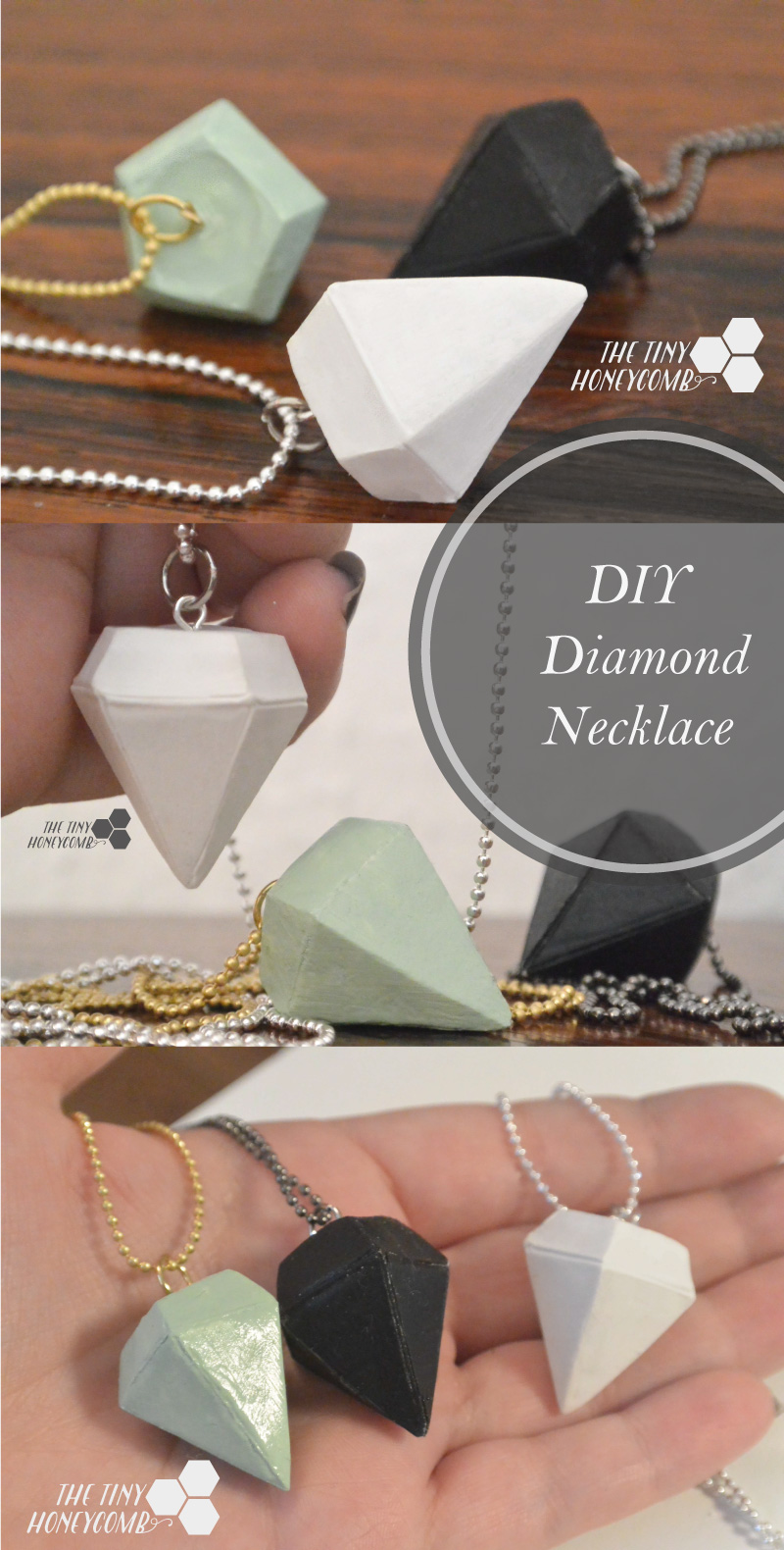 DIY diamond necklace tutorial. How to make a diamond pendant. the tiny honeycomb