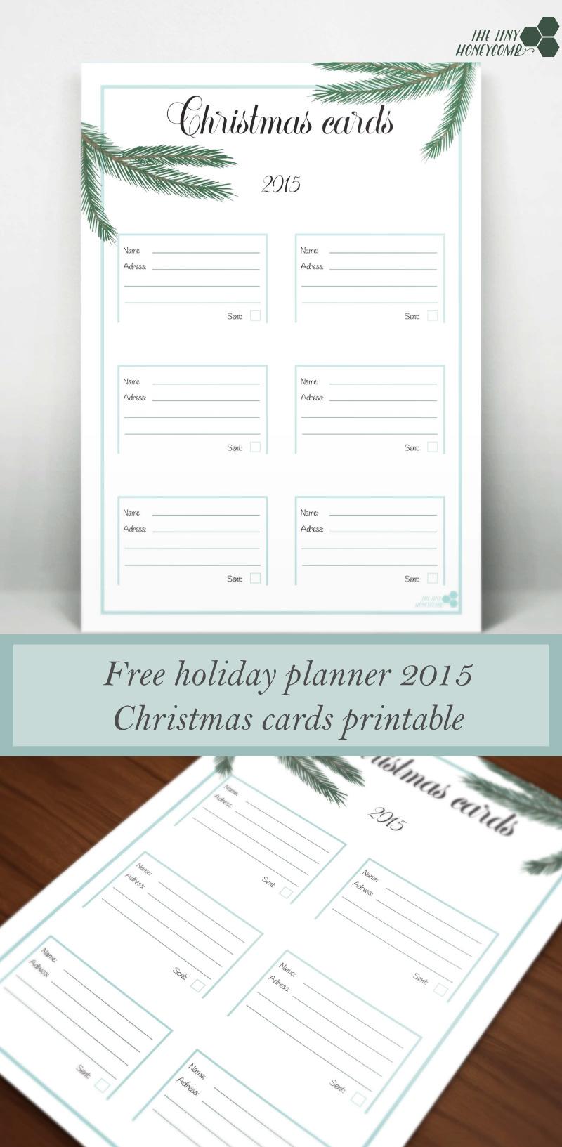 Christmas planner 2015. Free printables - Christmas cards. Getting organized this christmas.