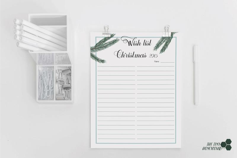 Christmas planner. Free printables. Wish list 2015
