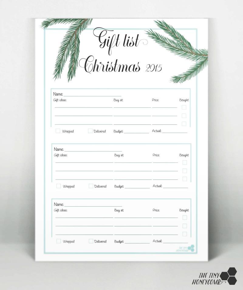 Free printable gift list. Christmas planner 2015