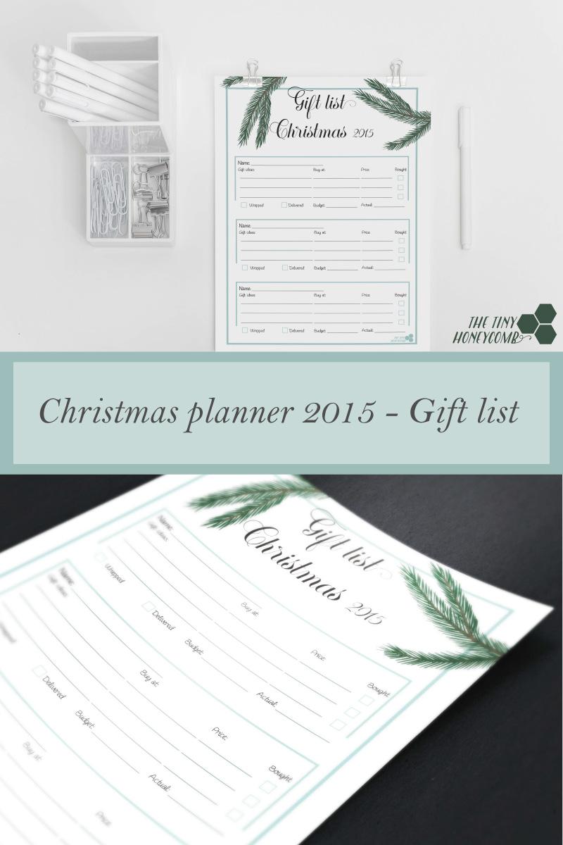 Free Gift list printable. Christmas planner 2015. Free print