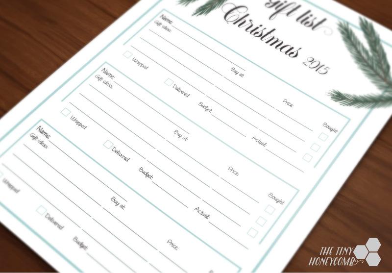 Gift list for christmas. Free printable 2015