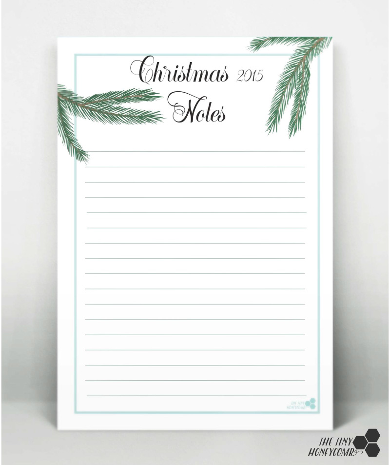 Christmas planner 2015. Printables - Notes print. For all your notes this Christmas.
