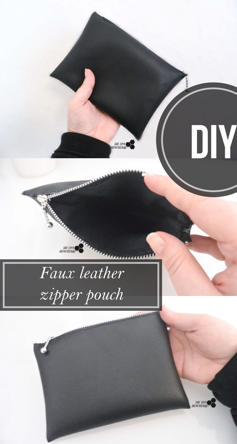 How to make a zipper bag for makeup using faux leather. Easy to make. The tiny honeycomb