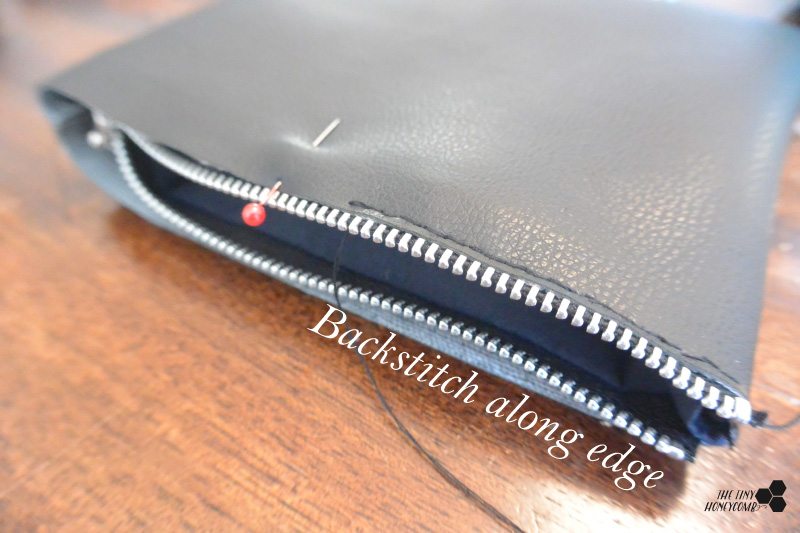 making a makeup bag with faux leather step 6