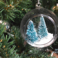 Miniature winter wonderland in a globe. DIY christmas ornament