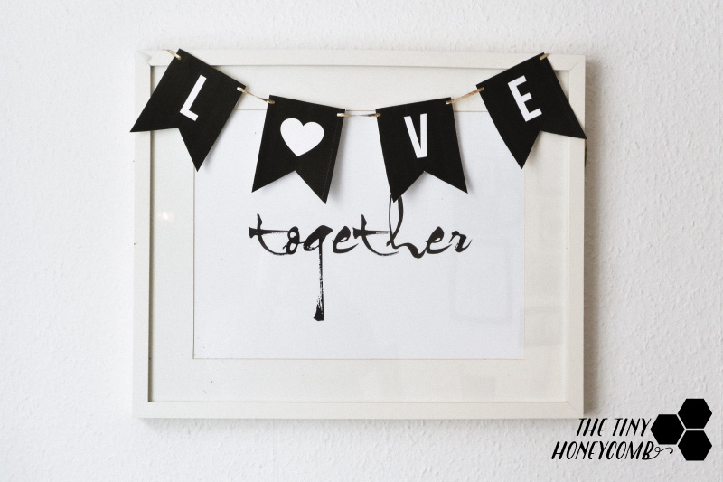 DIY easy and cute love banner for Valentine's day. Pretty, easy and cheap decor