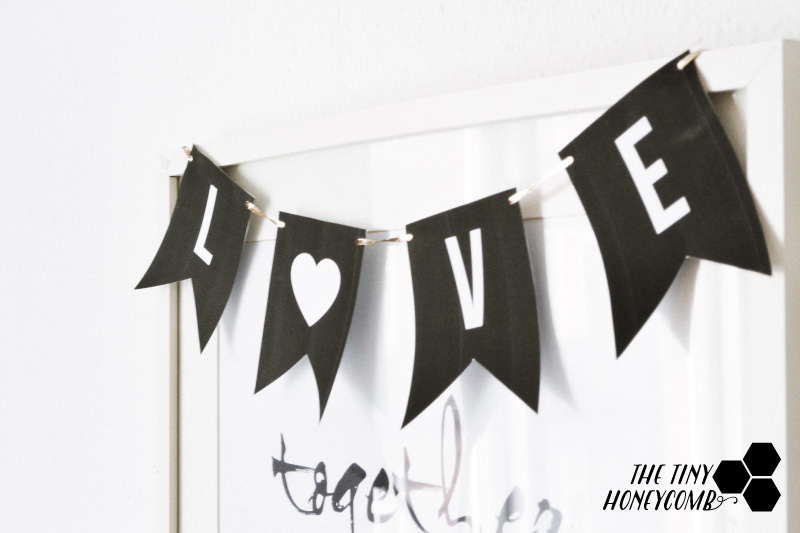 DIY love banner for an easy decor for valentine's day