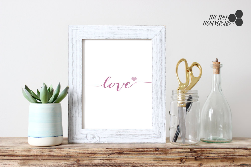 Free printable for valentine's day. love. simple and elegant for your home decor