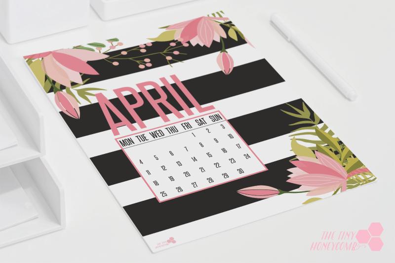 free printable calendar april