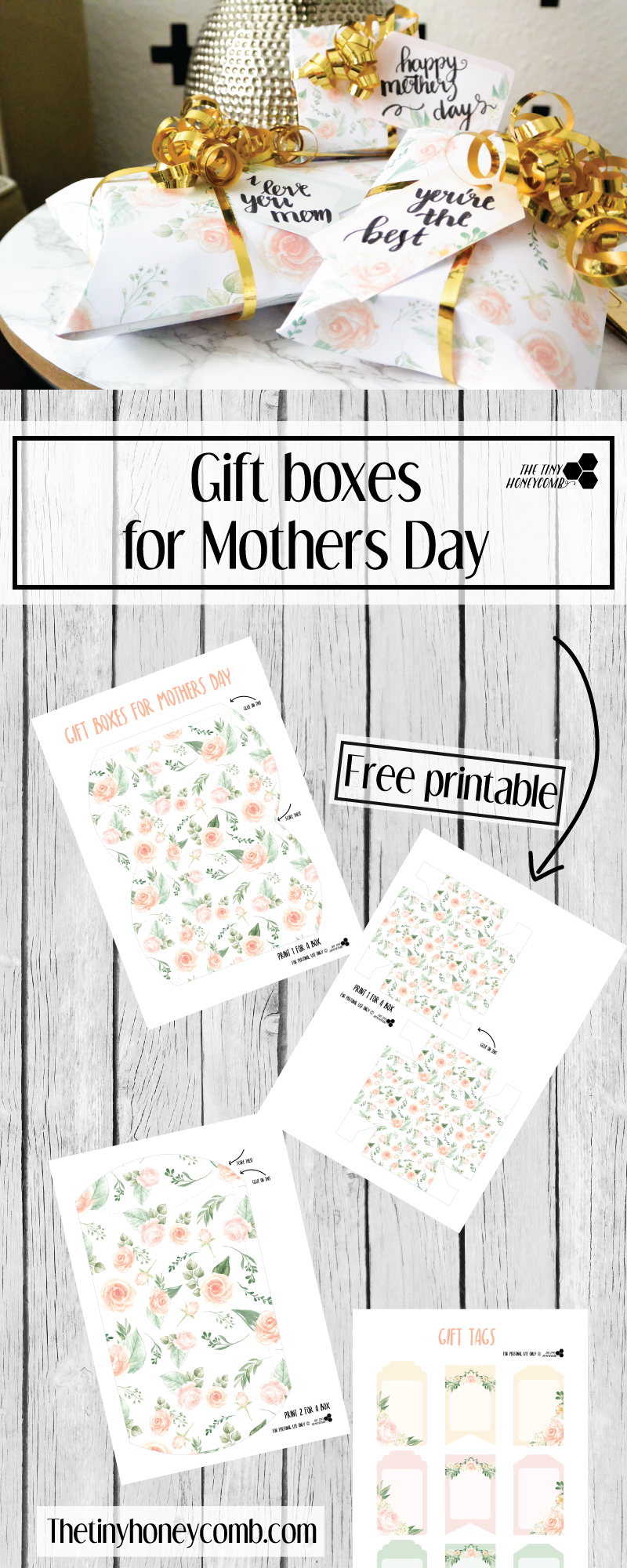 photograph relating to Diy Gift Tags Free Printable called Moms working day Present box and tags totally free printables The Minimal