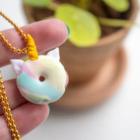 Make your own unicorn donut necklace with polymer clay